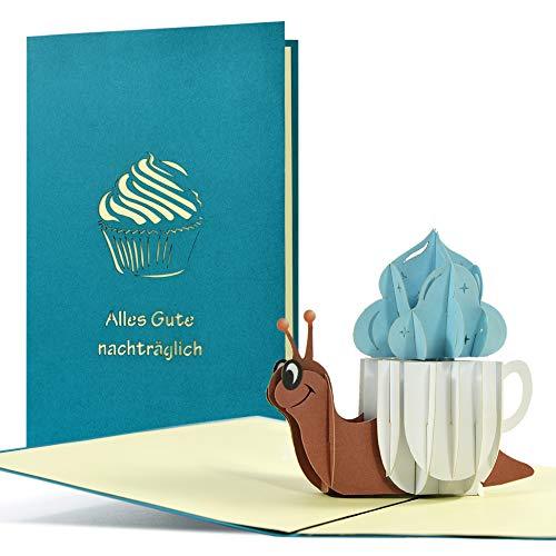 Geburtstagskarte Nachträglich I witzig, lustig I Pop up Karte zum Geburtstag | 3D Glückwunschkarte oder Gutschein zum Geburtstag, G28