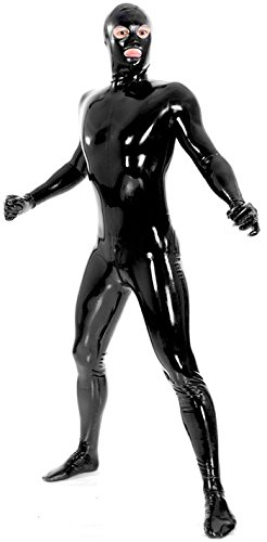 VsvoLatex Men's Black Fullbody Latex Rubber Zentai Catsuit Eyes Mouth Open (Large, Black)