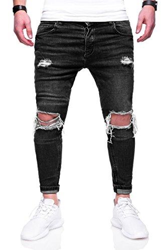 Rello & Rees Herren Destroyed Jeans Hose JN-3299 [Schwarz, W34/L32]