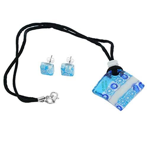 GlassOfVenice Juego de collar y pendientes de cristal de Murano, color blanco y azul