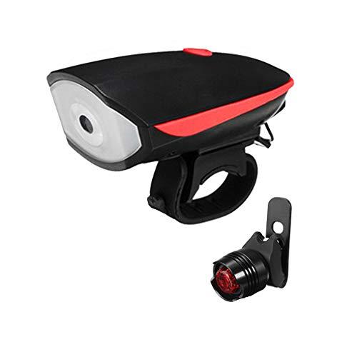 Fahrrad Fahrrad 3 LED Kopf vorne mit wiederaufladbarem USB-Heckclip Licht Lampe Sicherheit Taschenlampe Set wasserdichte Straße und Berg StVZO (5CM*3CM*3CM)