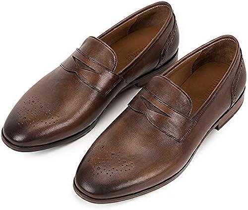 EGS-schuhe Handgefertigte Neue Brock Geschnitzte Vintage Herrenschuhe britische Wind Spitzenkleid Oxfords Schuhe,Grille Schuhe (Farbe   Coffee, Größe   41-EU)
