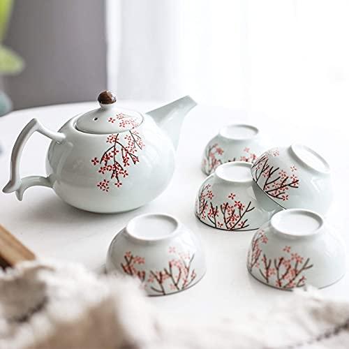Tetera japonesa, Juego de té de porcelana china Tazas de café Servicio de té de cerámica 1 Tetera con infusedor y 5 tazas de té Juego de té de kungfu para adultos Conjunto de té de servicio de té de b