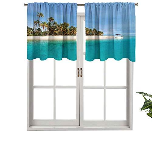 Hiiiman - Tenda a mantovana con mantovana e mantovana in stile tropicale, colore: blu, cielo su oceano, 137 x 91,4 cm, per decorazione interna