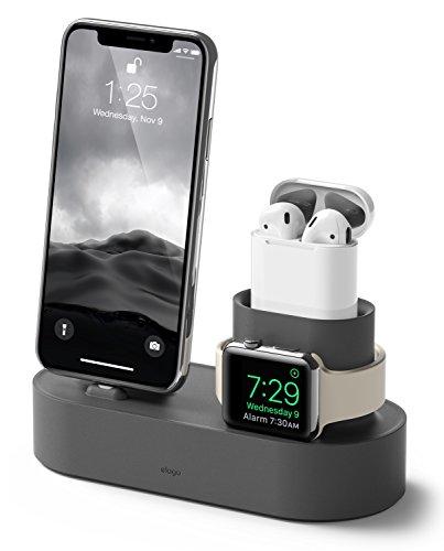 elago Stand 3 in 1 Dock Station Caricatore per Apple Watch SE, Serie 6/5/4/3/2/1, Apple AirPods 2/1, iPhone 11 e Tutti i Modelli di iPhone Ricarica [Cavi originali necessari non inclusi](Grigio Scuro)