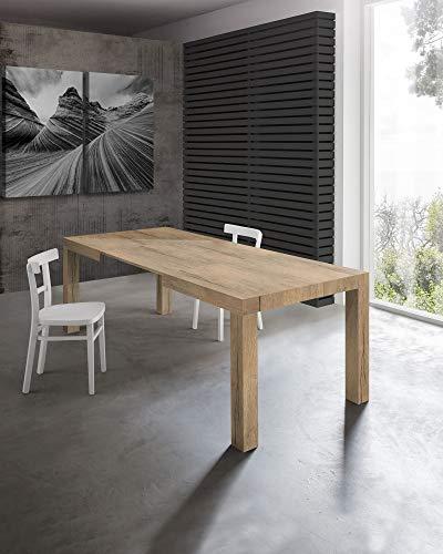 Tavolo allungabile moderno, mod.MORFEO finitura rovere rustico cm.120x80 H75 con 2 allunghe cm.40 allungabile a cm.200 in nobilitato melaminico di alta qualità