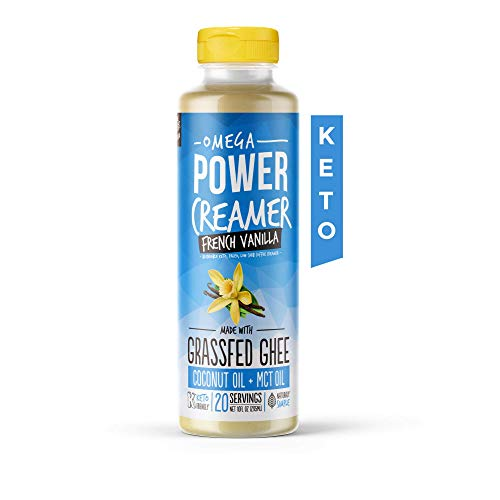 Omega PowerCreamer - French Vanilla Keto Coffee Creamer - Grassfed Ghee, MCT Oil, Organic Coconut Oil, Stevia Powder | Liquid Blend | Supports Weight Loss & Energy | Low Carb, Sugar Free (20 Servings)