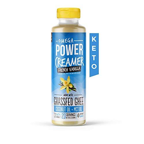 Omega PowerCreamer - French Vanilla Keto Coffee Creamer - Grassfed Ghee, MCT Oil, Organic Coconut Oil, Stevia Powder (20 Servings)