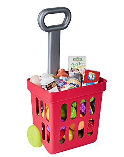 Playkidiz Mini Shopping Cart - Fill and Roll Grocery Basket - 24 Piece Small Toy Shopping Basket and Pretend Food Playset - Grocery, Kitchen and Plastic Food Toys for Toddlers - Size 17 x 8 x 6