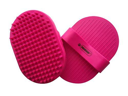 Pixikko Pet Curry Bath Shampoo Brush/Comb for Bathing - Massaging - Deshedding - on Wet or Dry Hair 1-PC (Pink)