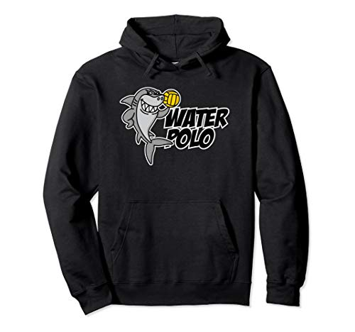 Water polo funny shark cartoon ball player kids gift idea Pullover Hoodie