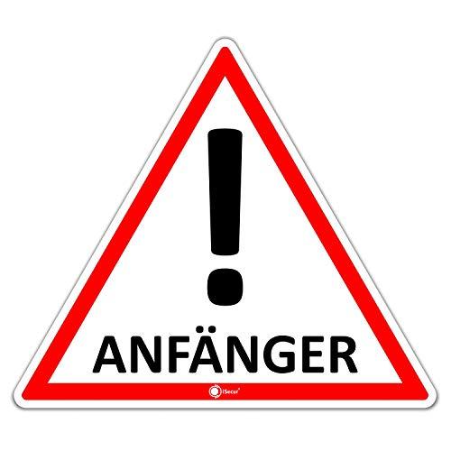 iSecur Auto-Magnet-Schild Anfänger! I 12,6 x 11 cm I Vorsicht Achtung Fahranfänger I für Kfz Auto LKW I abnehmbar wetterfest magnetisch I hin_291