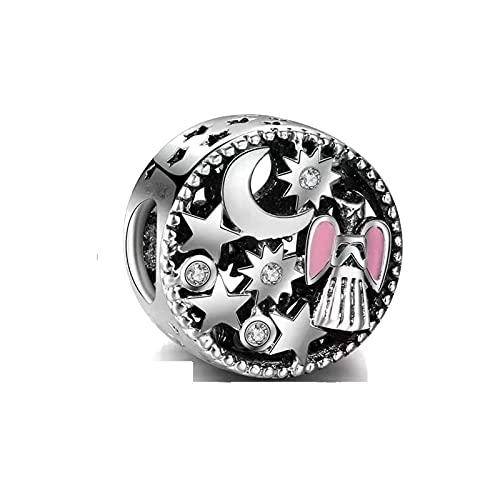 LILANG Pulsera de joyería Pandora 925, Cuentas de ángel Rosa de Color Plateado Natural, se Adapta a amuletos Europeos para Mujeres, Regalos de Bricolaje
