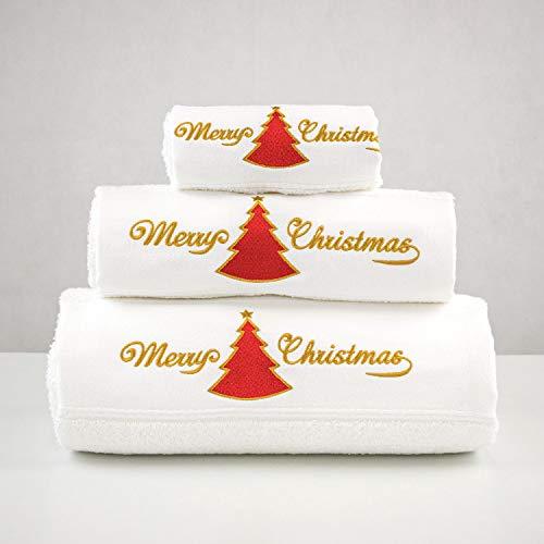 BgEurope Merry Xmas Set von 3Bestickt Weiß Bad Handtücher–Ref. Weihnachten Rot Baum