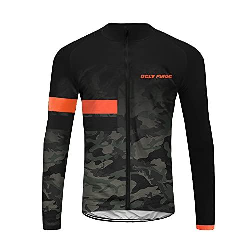 UGLY FROG Maillot Bicicleta Hombre Maillot Ciclismo con Mangas Largas con Bolsillos como Camiseta Interior