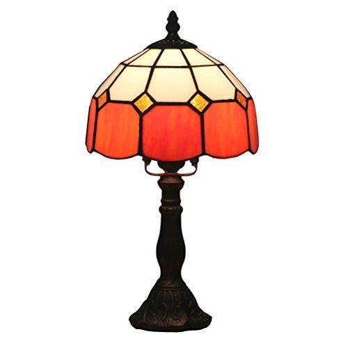 Odziezet Lampada da Tavolo Tiffany Vintage Pastorali di Vetro Macchiato Europea Lampada da Letto Comodino Luce 001-Arancione 8 Pollici
