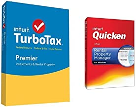 TurboTax Premier 2015 Federal + State Taxes + Fed Efile Tax Preparation Software PC/Mac Disc with Quicken Rental Property Manager 2016 PC Disc