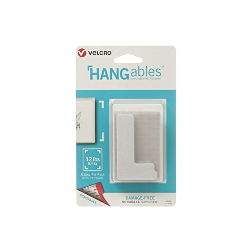 VELCRO Brand HANGables | Removable Wall Fasteners | Decorate Without Damaging Your Walls | Hang frames, Create Wall Collages | 8 Sets per Pack | Corners