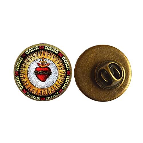 Broche de corazón sagrado arte foto Sagrado corazón de Jesús Pin joyería cristiana joyería hecha a mano, PU163