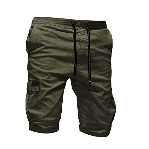 short D'Été Hommes Pantalon Sport Pur Couleur Bandage Casual Lâche Pantalon De Pulls Cordon Hommes Pantalon De Fitness Hommes Pantalons 2020 - Vert - M