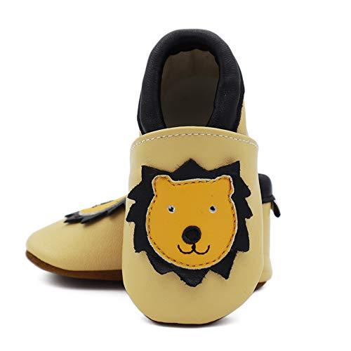 Vesi , Chaussures souple pour bébé (garçon) Gelber Löwe Größe S:0-6 Monate