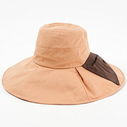 LSX-Sun hat Summer Hat, Sun Hats Women Bowknot Design Breathable Comfortable Cotton Linen Wide Brim Packable, 3 Colors Optional OYO (Color : Orange Pink)
