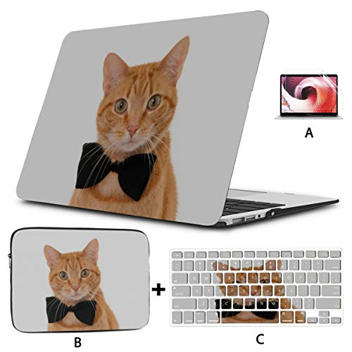 Mac 15 Inch Case Tie Ribbon Cute Funny Cat Mac Book Cases Hard Shell Mac Air 11'/13' Pro 13'/15'/16' with Notebook Sleeve Bag for MacBook 2008-2020 Version
