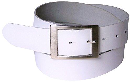 FRONHOFER Gürtel Damen 4 cm, Taillengürtel, Hüftgürtel aus echtem Leder, silberne Schnalle 17575, Größe:Körperumfang 90 cm/Gesamtlänge 105 cm, Farbe:Weiß
