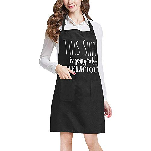 Funny Apron for Women Men, Unisex Adjustable Bib Apron for Cooking Baking