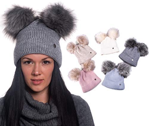 HEYO Damen Wintermütze mit Fleece gefüttert   Winter Mütze Pom Pom   Warme Strickmütze Zwei Bommeln   Bommelmütze mit Katzenohren H18570 (Hellgrau)