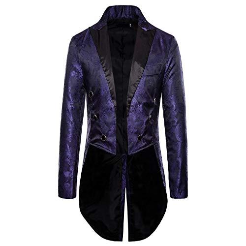 Fenverk Gotisch Viktorianisch Frack Steampunk VTG Mantel Jacke Halloween Cosplay Kostüm,Herren Gothic Jacke Vintage Viktorianischen Langer Kostüm Cosplay Kostüm Smoking Uniform(Lila,XXL)