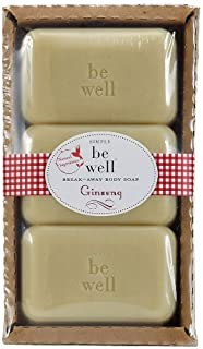 Simply be well GINSNG Moisturzing Bar Soaps - Gluten, Paraben, Artificial Color Free - 9.5 OZ Gift Boxed Set of 3 Breakaway Bath Soaps