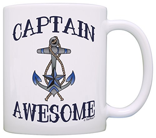 Taza de té con diseño de capitán impresionante náutico con ancla para vela, barco, regalo, taza de té, color blanco