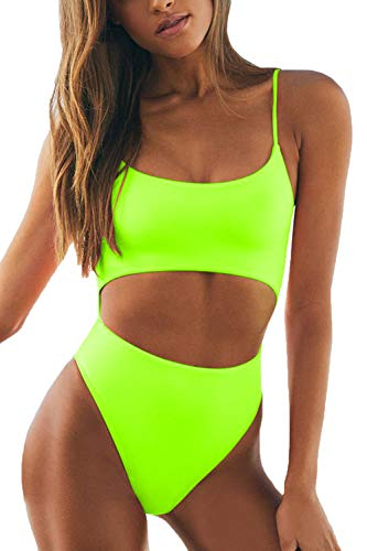 LEISUP Women's Spaghetti Straps Scoop Neck High Waisted Cutout One Piece Swimsuit Neon Yellow M