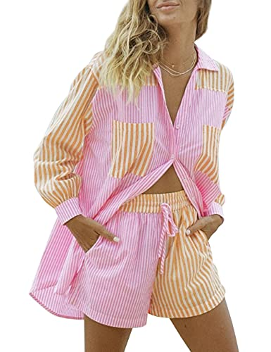 SAFRISIOR Women's 2 Piece Casual Tracksuit Outfit Sets Stripe Long Sleeve Shirt And Loose High Waisted Mini Shorts Set (Large, Pink&Yellow, l)