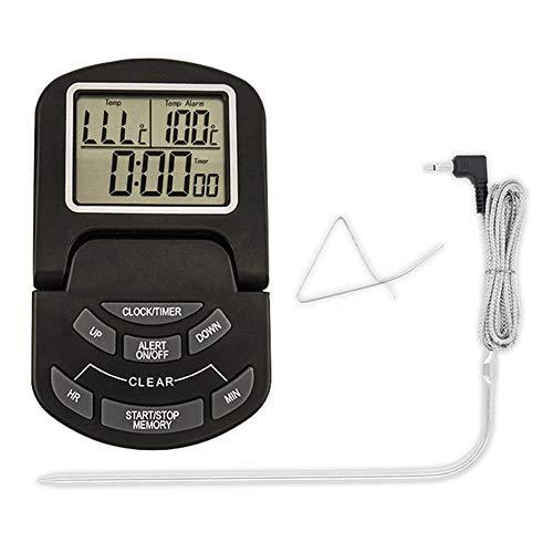 DFGH TermóMetro Cocina,TermóMetro para Carne para Cocinar TermóMetro para Alimentos Pantalla LCD Grande con Sonda ElectróNica de TemporizacióN de Alarma ce Temperatura