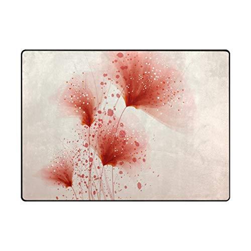 FANTAZIO Tapis de Sol pour Enfants Motif Floral Abstrait Rouge/Rouge, Polyester, 1, 80 x 58 inch
