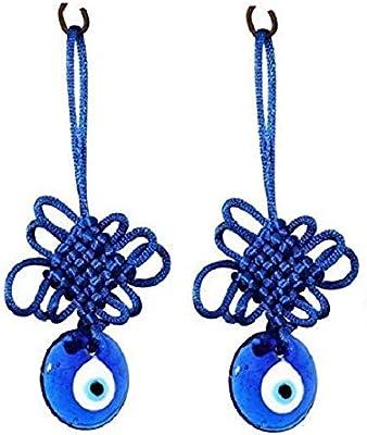 SHIVMART® Feng Shui Evil Eye Car & Door/Office Hanging for Good Luck and Prosperity Set of 2
