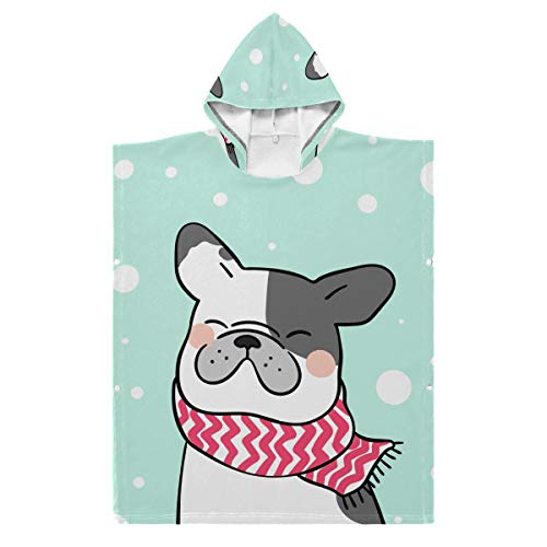 Nobranded Kids Hooded Beach Bath Towel - French Bulldog Hooded Baby Towel for Bathing Towels Hot Spring Water Park Perfect Chirld Gift
