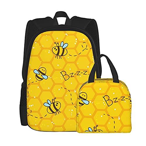 Bolsa de almuerzo unisex con diseño de panal de abeja y mochila para portátil de 15 pulgadas, bolsa de viaje, bolsa de escuela, bolsa de almuerzo reutilizable