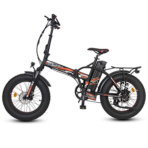 """ECOTRIC 20"""" Powerful Bicycle Electric Bike Foldable Fat Tire Mountain - 48V/15AH 500W Motor High Capacity Lithium Battery Front Suspension Snow Beach Ebike Moped Aluminum Frame (Red)"""
