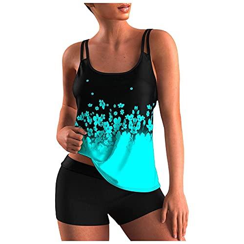 Coolster Mehrfarbig Bikini Set Damen Bauchweg Strapsen Oberteile und Badeshorts Hawaii Tankini Badeanzug Beachwear Zweiteiler Bademode mit Bügeln UV Schutz Mode Drucken Strandmode Schwimmanzug