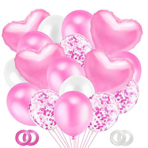 O-Kinee Palloncini Rosa, 50 Pezzi Set Palloncini con Coriandoli, Palloncino Foil Cuore Rosa, Palloncini Rosa e Bianchi per Matrimonio, Baby Shower, Decorazione Festa di Compleanno
