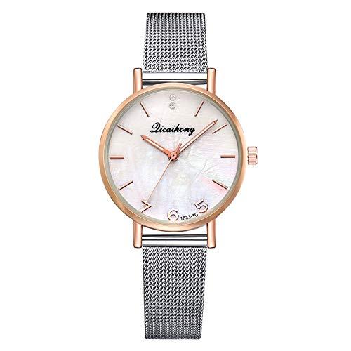 TYYW Reloj De Cuarzo con Cinturón De Malla De Acero A La Moda Reloj Femenino Informal con Espejo Multicolor (Blanco)