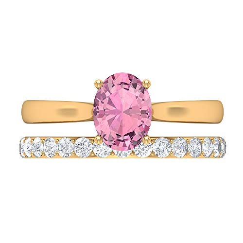 Rosec Jewels 14 quilates oro amarillo ovalada Round Brilliant Pink Moissanite Tourmaline
