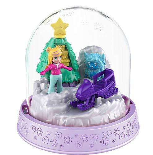 Polly-Pocket Mattel Mini - Schneekugel Winter, Weihnachten 8 x 8 cm groß (GNG69 - Skidoo Polly Pocket)