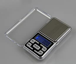 Enterest Portable Mini Electronic Jewelry Scale Overload Protection Function Blue Backlit Color in Silver Battery not Included Pocket Jewelry Scale