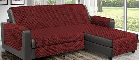 Copridivano Salvadivano reverse trapuntato è utilizzabile per divani ad Angolo con penisola sia destra che sinistra reversibile PET FRIENDLY (Bordeaux, 2 Posti 190 cm)