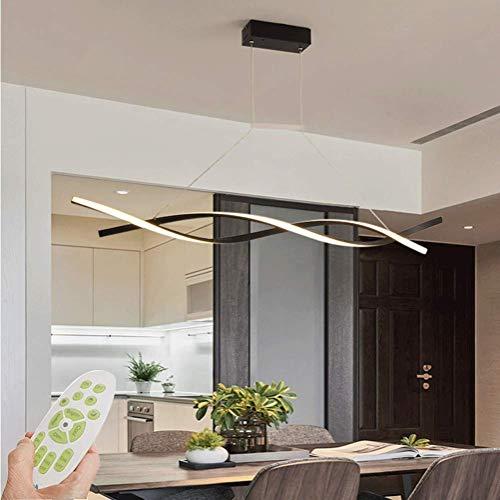 Lampara LED de arana de 100 cm, regulable, para mesa de comedor, estilo rustico, lampara colgante de metal acrilico, diseno de lineas con mando a distancia para comedor, lampara colgante, color negro