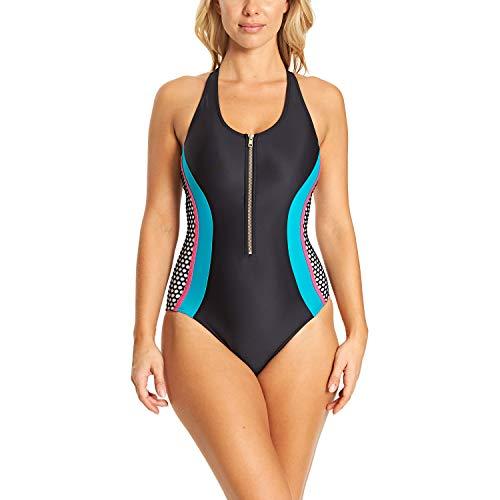 Zoggs Elevation Damen Badeanzug mit Reißverschluss vorne, Öko-Stoff XXL Schwarz